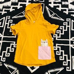 Worn once girls cat&jack yellow hoodie T-shirt